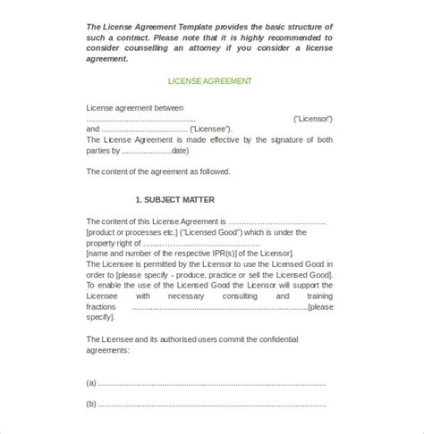 licence agreement template license agreement template 10 free word pdf document