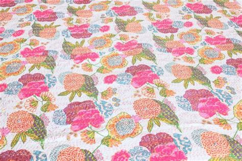 floral coverlet king white cotton floral bedspread tropical bedding kantha