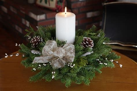 winter elegance pillar candle centerpiece christmas
