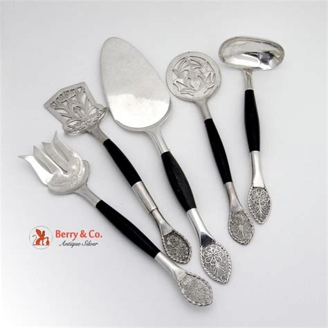 unique silverware unique hand made five piece serving set sterling silver wood 1960 from berrycom com flatware on