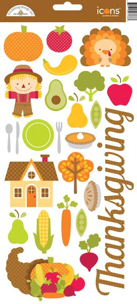 printable thanksgiving stickers doodlebug design happy harvest collection cardstock