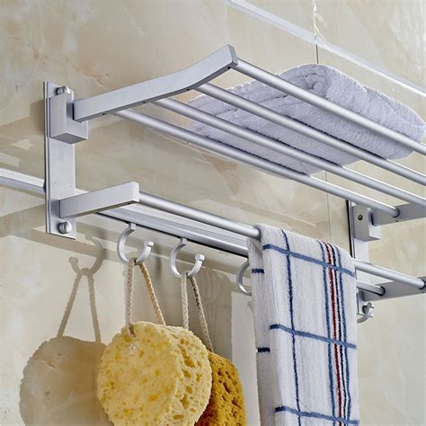 Bath Towel Shelf Rack by Foldable Alumimum Towel Bar Rack Holder Hanger W 5 Hooks