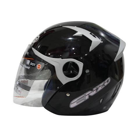 jual ink enzo helm half black grey harga kualitas terjamin blibli
