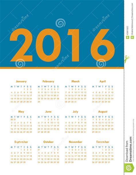 Calendrier Numéro Semaine 2016 Calendrier D Affiche Pour 2016 La Semaine Commence Lundi