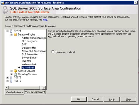 xp configure host enabling xp cmdshell in sql server 2005
