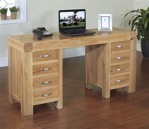 langton solid oak office furniture large twin pedestal laptop computer pc desk ebay