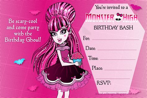 monster high printable party decorations 8 best images of monster birthday party invitations