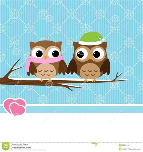 winter owl couple stock vector image  paper cartoon