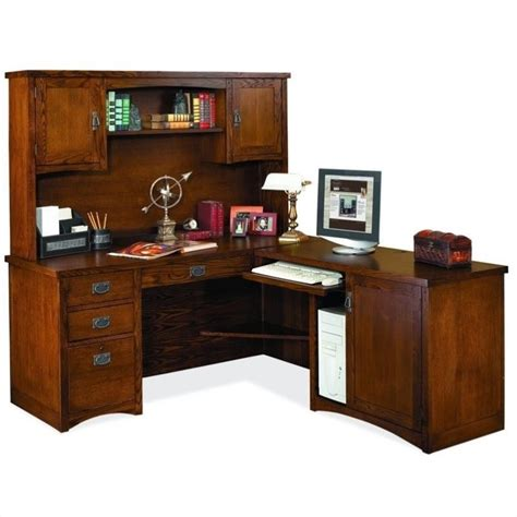Kathy Ireland Home By Martin Mission Pasadena Rhf L Shape Wood Desk With Hutch
