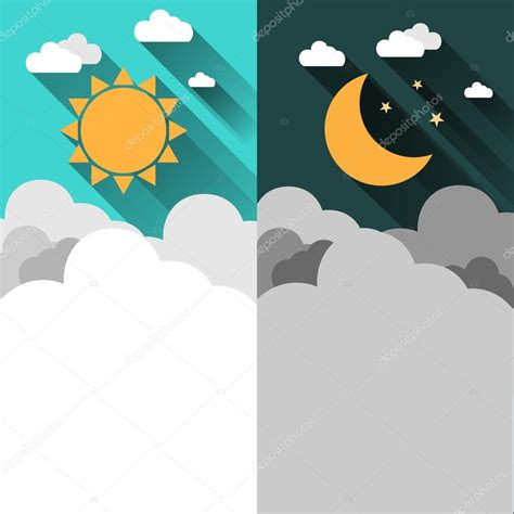 sol y la luna nubes estrellas vector de stock 169 son el sol luna estrellas y nubes de banners vector de