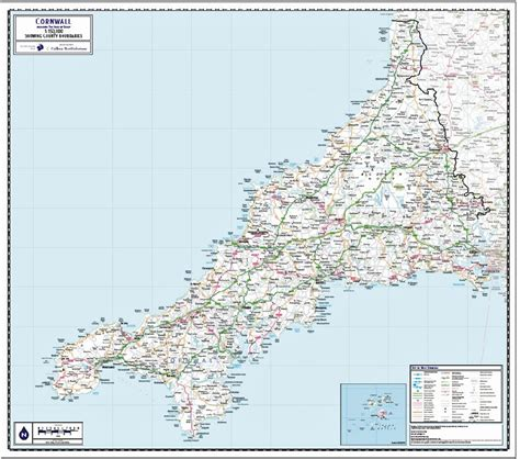 Wall Map Mural cornwall including isles of scilly county map paper
