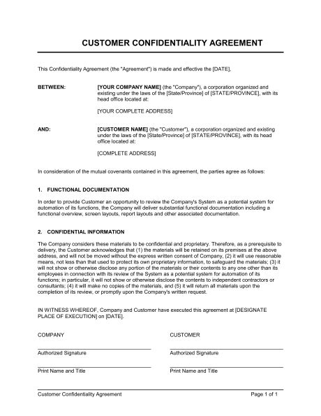 customer confidentiality agreement template word   business   box