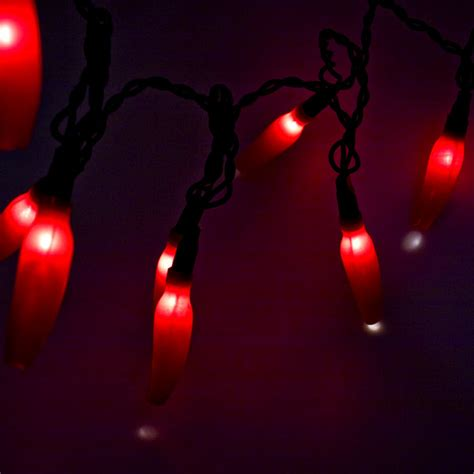 2 8m Length Of 20 Clear Bulb Red Shaded Chilli Lights Chilli Lights