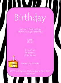 birthday invites free templates zebra pink birthday invitation template