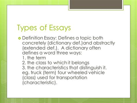 Essay Types Definition by Essay Definition Types