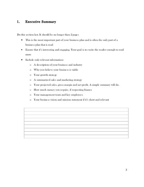 Business Plan Template With Instructions Copy Strategy Template