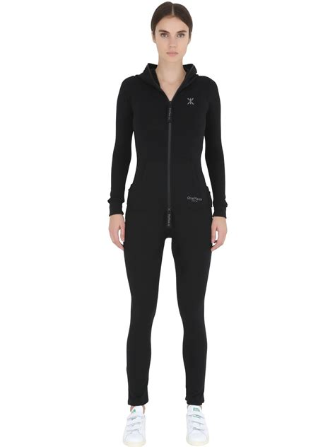 one jumpsuit with onepiece slim fit stretch cotton jumpsuit in black lyst
