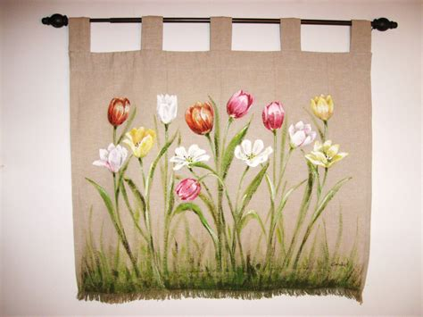 wall hanging design tulips spring floral wall hanging hand painted fiber wall