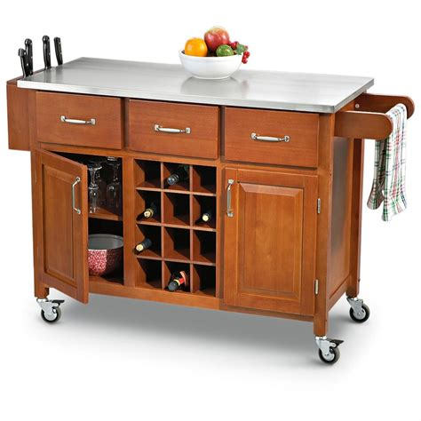 wheeled kitchen islands stainless steel top rolling kitchen cart 203777