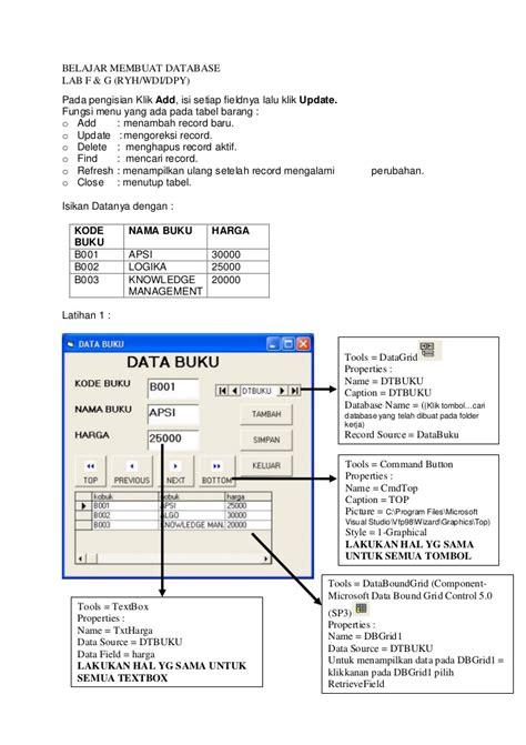 belajar membuat database xp belajar membuat database microsoft visual basic 6 0