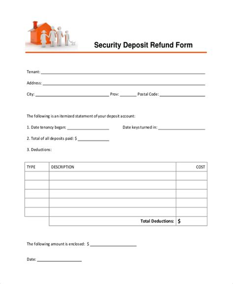 Withdraw Security Deposit Letter Sle Security Deposit Form 10 Free Documents In Pdf