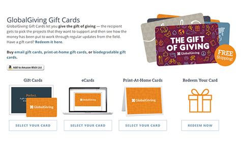 Global Giving Gift Card - 20 holiday gift programs that benefit nonprofits