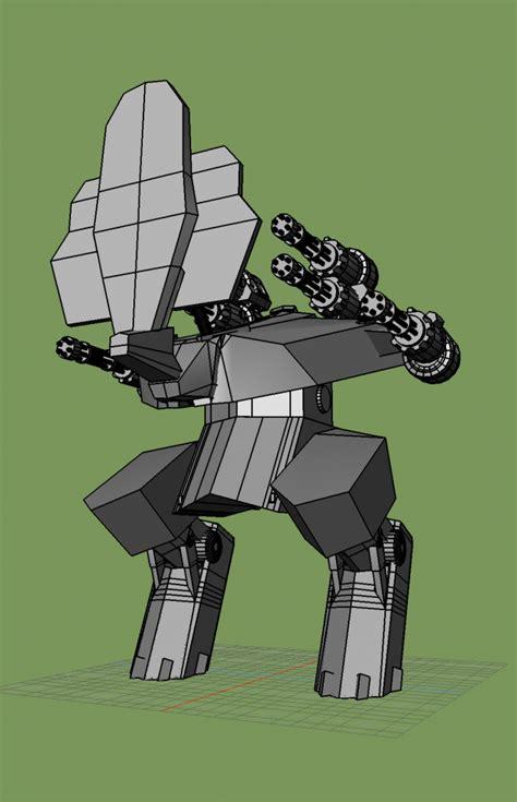 Armchair Computer Table Rhino War Robot Downloadfree3d Com