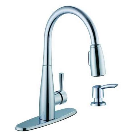 glacier bay 900 series single handle pull down sprayer kitchen faucet with soap dispenser in