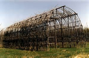 flat end longhouse frame typical of iroquois huron