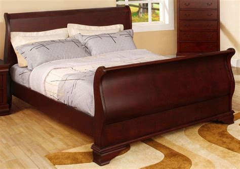 cherry king bed laurelle cherry king sleigh bed from furniture of america
