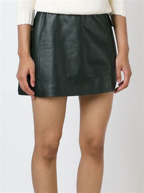 burch mini leather skirt in green lyst