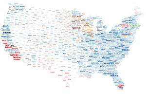 us map last names the most popular surnames in the us by area