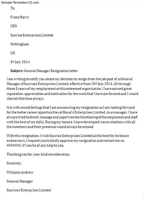 Employment Letter For General Manager General Manager Resignation Letter Sle Templates