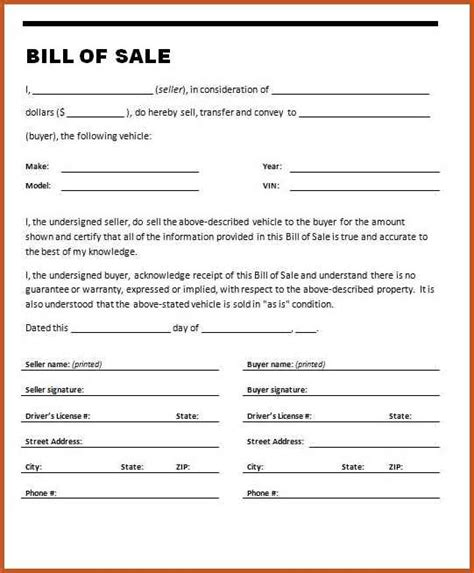 bill of sale florida car sop exle