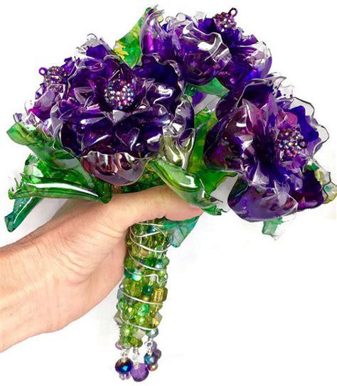 fiori di plastica riciclata bouquet da sposa originali