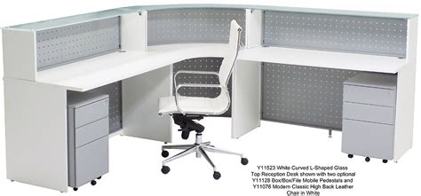 curved l shaped desk white curved l shaped glass top reception desk