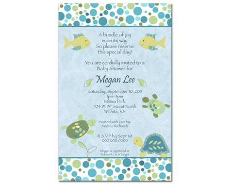 turtle baby shower invitations template best template