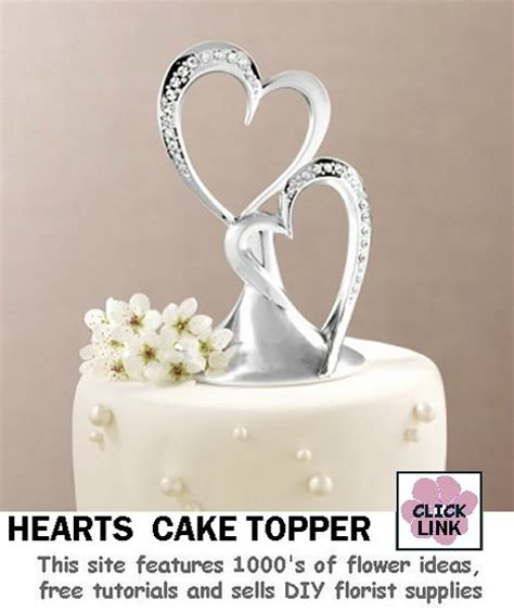 Double Heart Wedding Cake Toppers