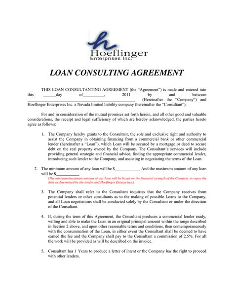 Loan Consultant by Loan Consultant Agreement In Word And Pdf Formats