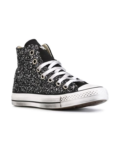 all black high top sneakers lyst converse all glitter hi top sneakers in