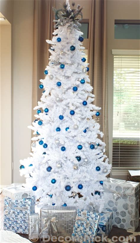 white and blue decorations the all white and flocked tree decorchick