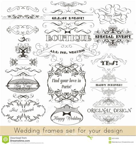 vector wedding design elements and calligraphic page decoration set of vector calligraphic elements and page decorations