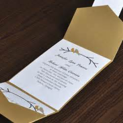 birds card and gold pocket wedding invites with free response card ewpi016 as low