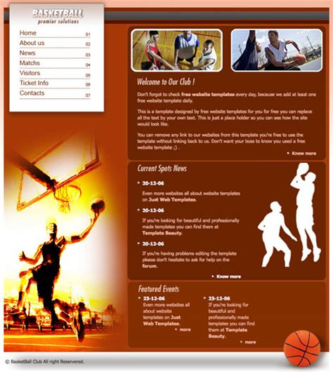 Ready Basketball Template Free Website Templates Free Basketball Website Templates