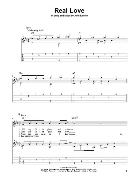 Real Love John Lennon Guitar Chords