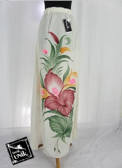 Mukena Lukis Bunga Bawahan Batik rok batik cantik motif batik putih lukis bunga bawahan