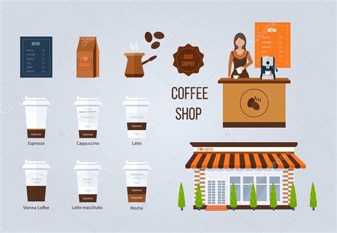 coffee shop design elements coffee shop illustration design elements stock vector