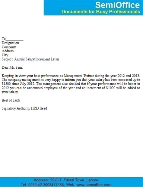 Company Raise Letter Salary Increase Notification Letter Sle For Employees