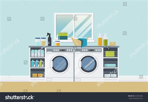 laundry design concept modern laundry room two washing machines stock vector
