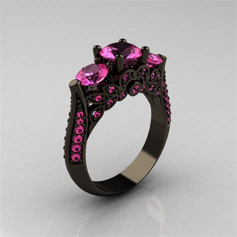 classic 14k black gold three pink sapphire by artmasters
